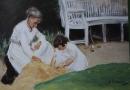 Max Liebermann: Enkelin mit der Kinderfrau beim Spiel, 1919, Privatbesitz