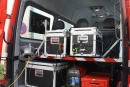 Die Ausstattung einen portablen KatLeuchtturms. Sie soll Informationen bieten und Kommunikation ermöglichen.
