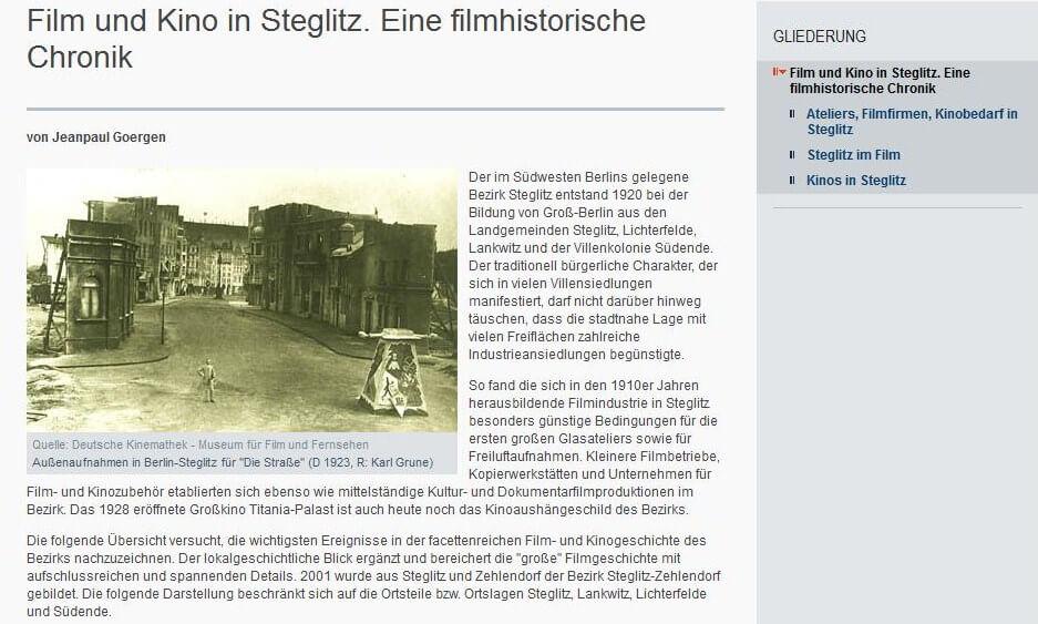 Steglitzer Filmgeschichte: Filmwissenschaftler Jeanpaul Goergen recherchierte fürs Kulturamt