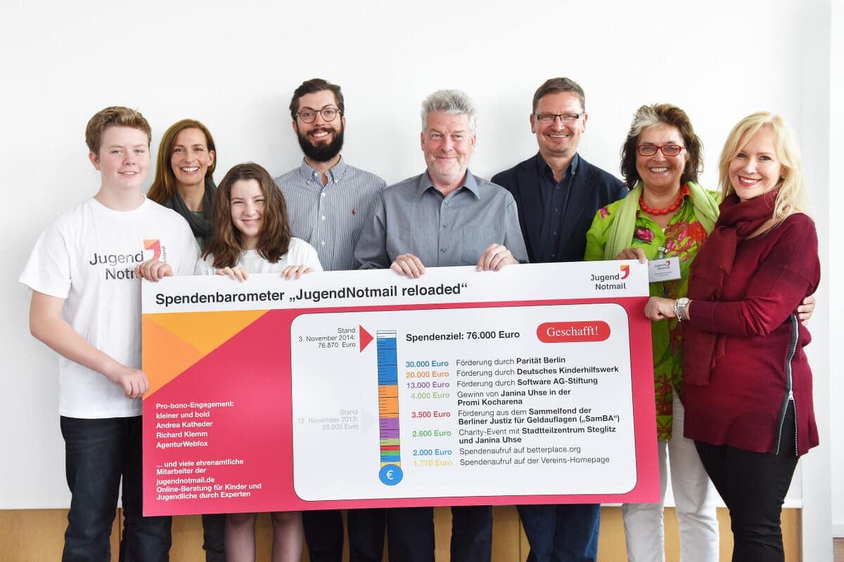"""""""Erfolgsgeschichte für gemeinschaftliches soziales Engagement"""": 76.000 Euro für die Jugendnotmail gesammelt"""
