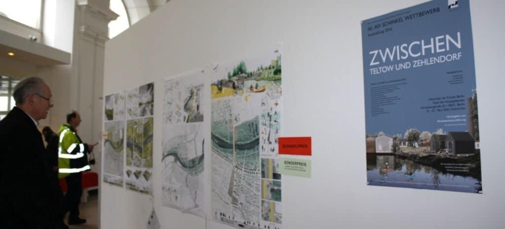 In der Univerität der Künste wurden die elf Wettbewerbsbeiträge ausgestellt, die nach Jury-Bewertung Zehlendorf und Teltow am besten miteinander verbinden. Foto: Gogol