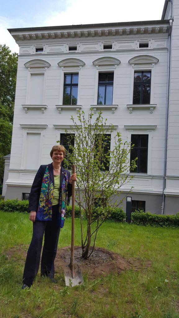 Cerstin Richter-Kotowski pflanzte die Magnolie, die sie sich zum 50. Geburtstag gewünscht hatte, vor der Musikschulvilla in Stieglitz.