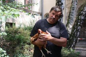 Herman Karnitzschky mag Hühner. An der Grundschule am Stadtpark Steglitz hat er einen kleinen Hühnerhof. Foto: Gogol