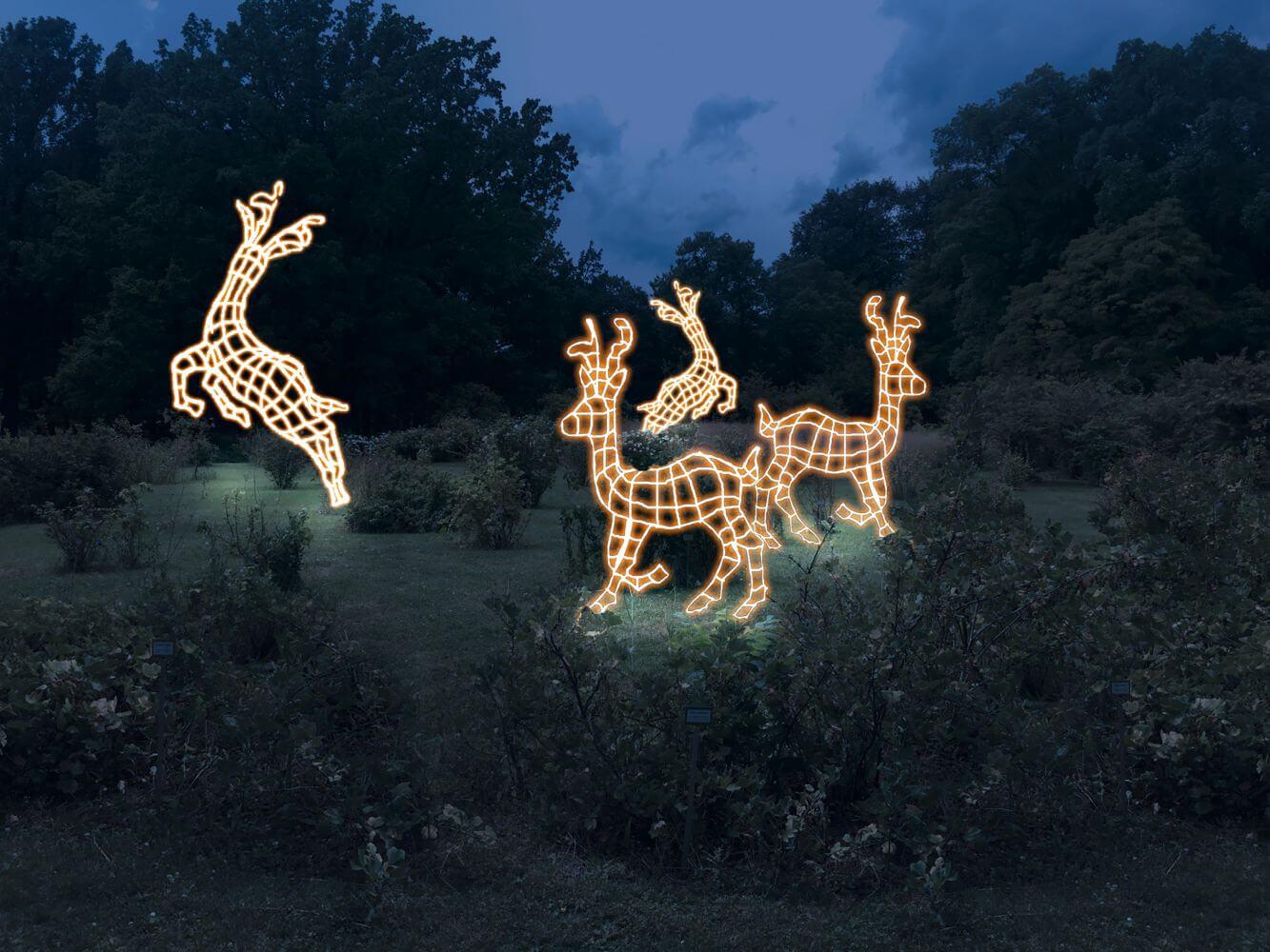 Leuchtende Rentiere Christmas Garden Berlin