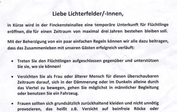 """Flüchtlingsunterkunft Finckensteinallee: Fake-Willkommensinitiative gibt """"Tipps"""" zum """"erfolgreichen Zusammenleben"""""""