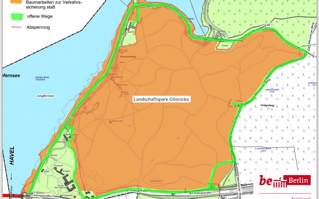 Teilsperrung des historischen Landschaftsparks Klein-Glienicke