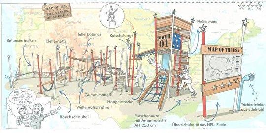 Neubau eines Spielplatzes auf dem Platz der US-Berlin-Brigade