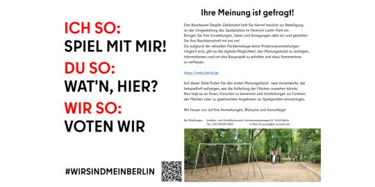 Onlinebeteiligung bezüglich Spielplatz im Heinrich-Laehr-Park